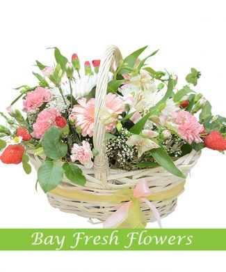 Mix of flowers in the basket