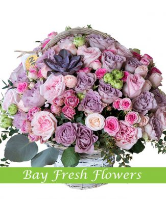 Big basket of roses flowers
