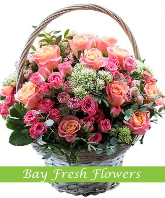 Mix of rose flowers in the basket