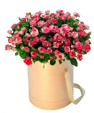 27005 Pink freckles - Large arrangement with red roses in a box