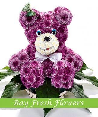 Purple bear of flowers