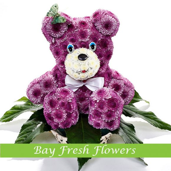Purple bear of flowers