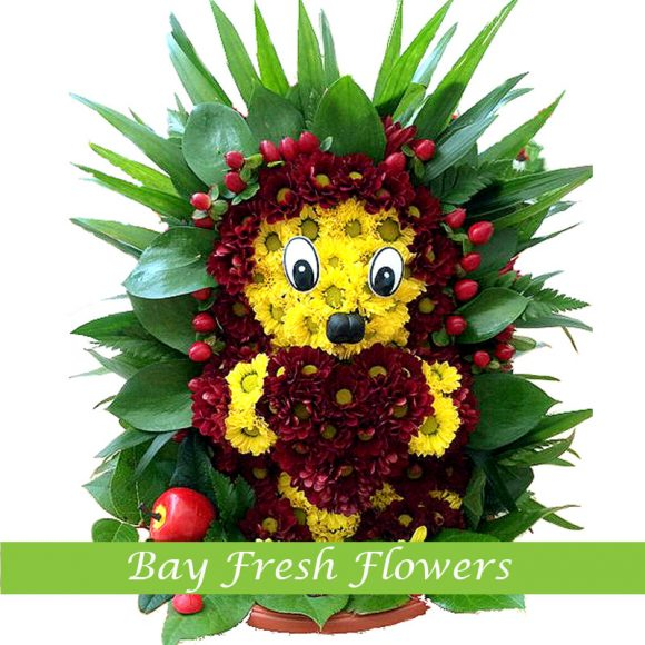Prickly hedgehog of flowers with a gift