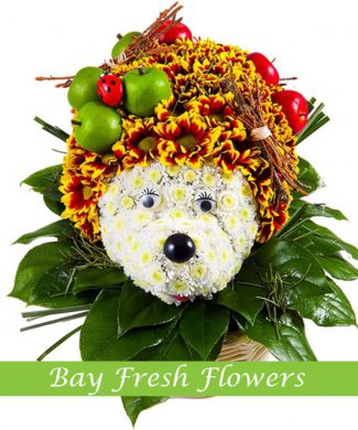 Hedgehog of flowers bears apples