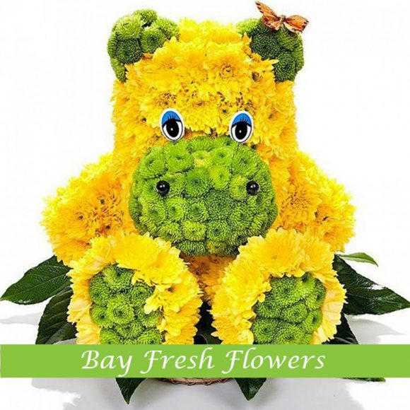 Yellow hippo from flowers