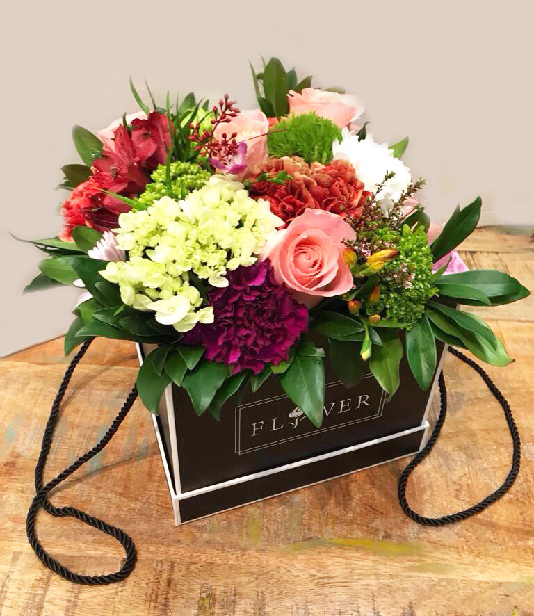 Sweet Reminder Flowers In A Box With Macaroons Buy In Vancouver Fresh Flowers Delivery From