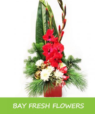 Christmas arrangement with balls and bows