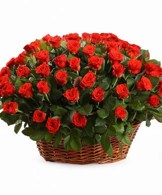 2023 Large arrangement with red roses in a basket