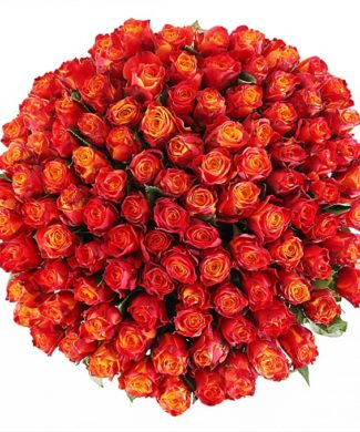 2018 Huge bouquet of roses - orange  red color mix