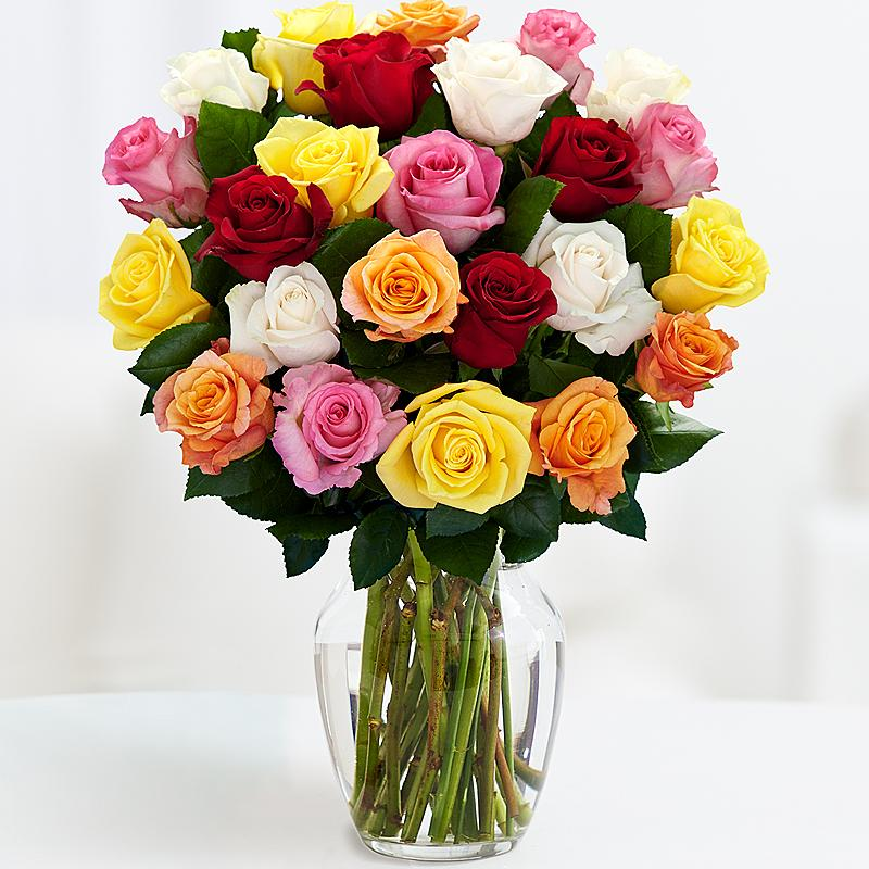Dozen Of Mixed Color Roses Buy In Vancouver Fresh Flowers Delivery From Florist Local Shop
