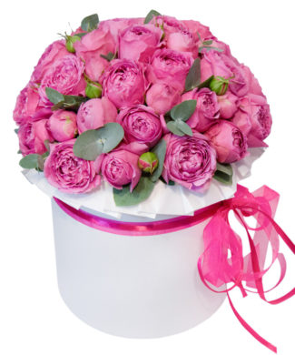 27051 Pink Romance - pink roses in a hat box