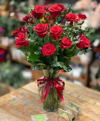 11069 Timeless classic - Premium red roses and eucalyptus in a vase
